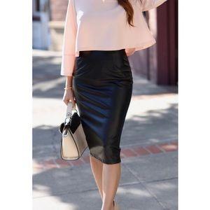 Dresses & Skirts - High Waist Black 100% Leather Pencil Skirt